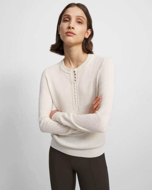 Button-Up Henley Sweater in Cashmere