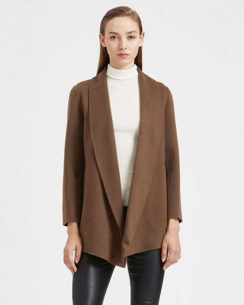 Shawl Clairene Jacket in Double-Face Wool-Cashmere