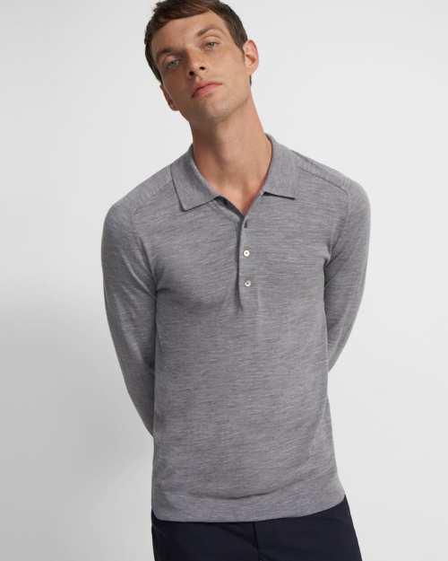 Long-Sleeve Polo Shirt in Regal Wool