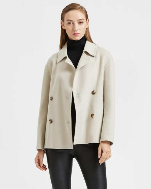 Casual Peacoat in Double-Face Wool-Cashmere