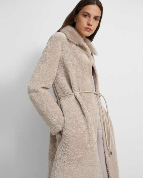 Shirttail Coat in Shearling