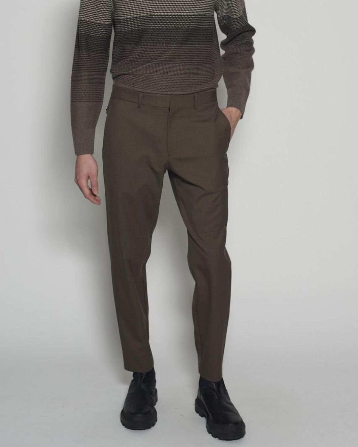 Curtis 混羊毛斜紋長褲